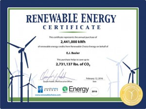 EJ Basler Precision Machined Parts - Renewable Energy Certificate